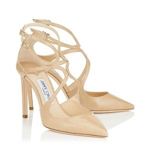 Jimmy Choo Lancer 100 Nude Patent Pump size 39